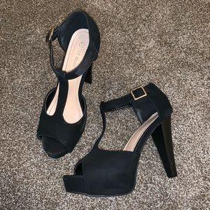 Shoes - Black Velvet Heels